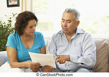 Senior Couple Studying Financial Document At Home