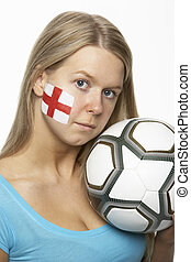 Sad Young Female Football Fan With St Georges Flag Painted On Face