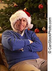 3º edad, hombre, vestido, como, padre, navidad, Mirar,...