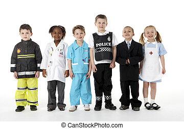 jovem, crianças, vestindo, cima, como,...