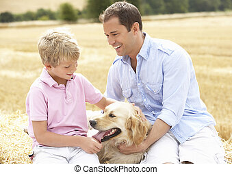 Father And Son Sitting With Dog On Straw Bales In Harvested...