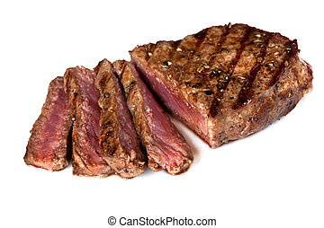 Steak - Grilled beef steak, sliced, isolated on white...