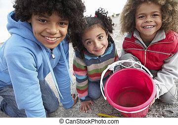 crianças, pesca, caranguejos