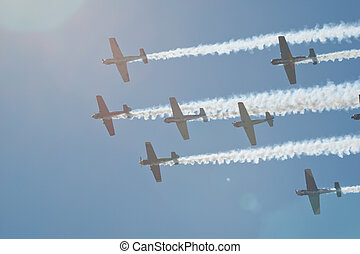 Flying In Formation - Vintage airplane flying in formation...