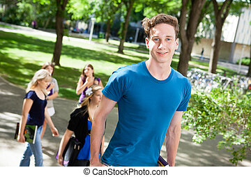 Male on College Campus - Portrait of boy going college with...