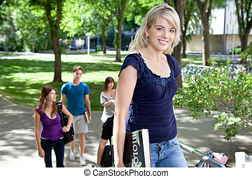 Young college girl - Pretty college girl going to college...