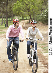 乗馬, 恋人, 自転車, 公園