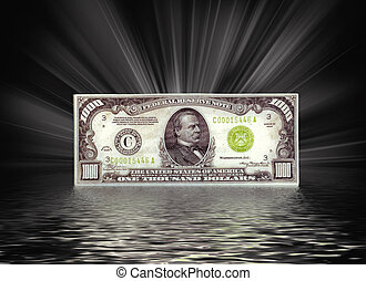 thousand dollar bill - Thousand dollar bill with light rays...