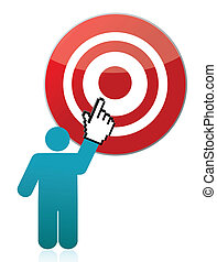 person pointing target illustration