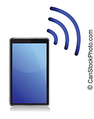Tablet with wireless connection illustration