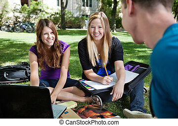 Students Studying Outdoors - Three classmates studying...