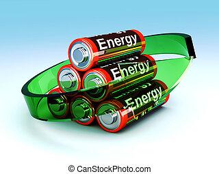 Rechargable Batteries - 3D rendered Illustration. Symbol for...