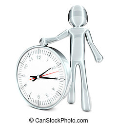 Timer - A cartoon figure with a clock. 3D rendered...