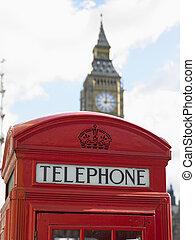 Telephone Booth In Front Of Big Ben Clock Tower, London, England