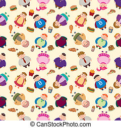 Cartoon Fat people seamless pattern