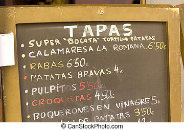 Tapas Poster - List of tapas in a bar in Barcelona