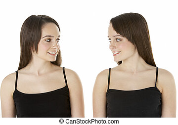 Studio Portrait Of Teenage Twins