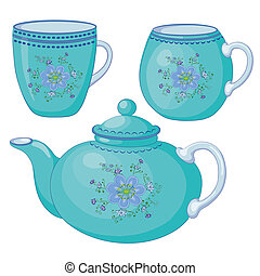 Teapot and cups - blue china teapot and cups with a pattern...