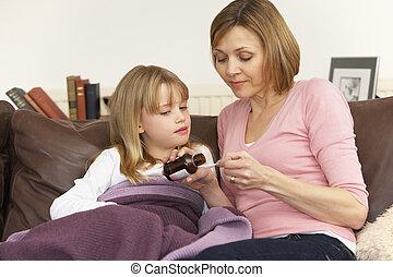 mãe, Dar, medicina, Para, doente, filha