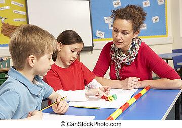 alumnos, estudiar, aula, profesor