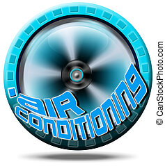 Icon air conditioning - Blue symbol air conditioning with...
