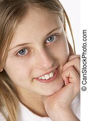 ritratto, di, pre-teen, ragazza, sorridente