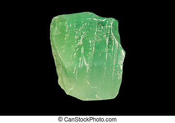 Green mineral calcite on black background