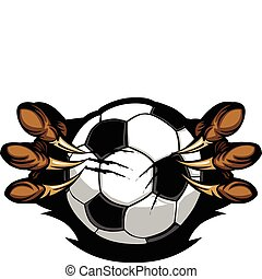 Soccer Ball With Eagle Talons Vecto - Vector Cartoon of...