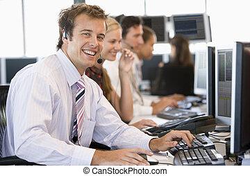 Stock Trader Smiling At Camera