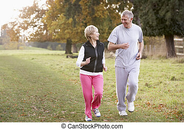 Senior Couple Power Walking In The Park