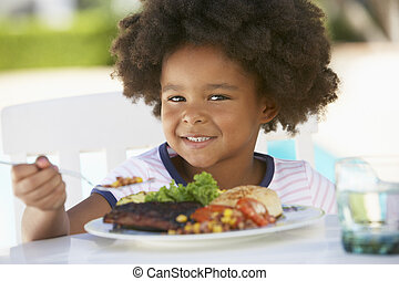 Young Girl Dining Al Fresco