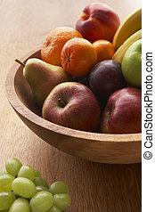 新鮮, 水果, 碗, 充滿, 品種
