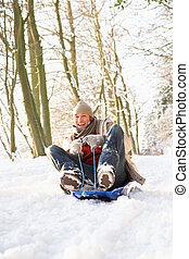 Man Sledging Through Snowy Woodland