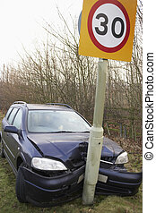 Car Wrapped Around Speed Limit Sign