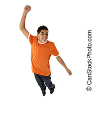 Young Boy Leaping In Studio