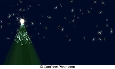 christmas tree and twinkling stars in the night sky