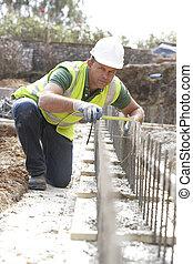 construção, trabalhador, deitando,...