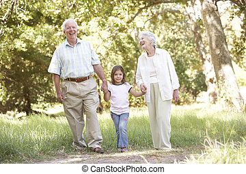 Grandparents In Park With Granddaughter