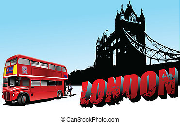 3D word London on Tower bridge and