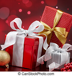 christmas gifts - christmas presents and ornaments against...