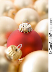 Selection of red and gold christmas tree baubles