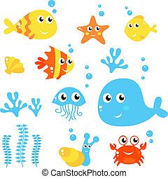 Marine Life - Sea and fishes collection isolated on white -...