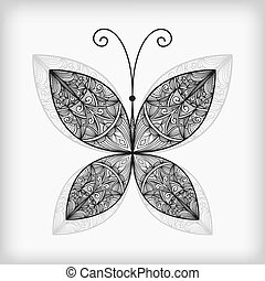 vector abstract highly detailed nonochrome butterfly