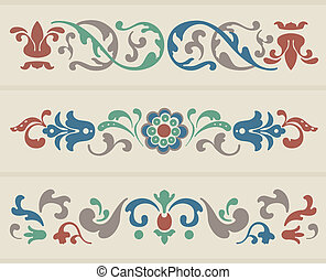 Russian Ornament - Traditional Russian Ornament in three...