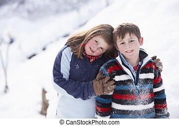 肖像画, 子供, 2, 風景, 雪が多い