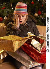 Tired Woman Returning After Christmas Shopping Trip