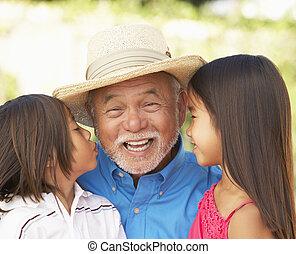 Grandfather With Grandchildren In Garden