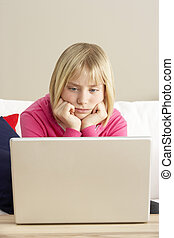 Worried Looking Girl Using Laptop