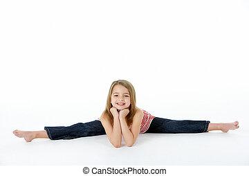 junger, m�dchen, in, gymnastisch,...
