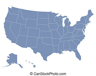 vector map of the united states of america, each state is in...